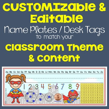 Back to School Customizable & Editable Name Tags to match your theme
