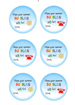 Customizable End of Year Tags & Labels: Bubbles Gift