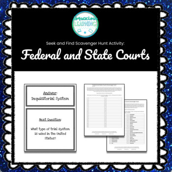Customizable Federal and State Court System Scavenger Hunt Style Review Game