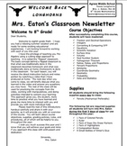 Customizable First Day Classroom Newsletter