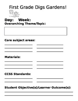 Customizable Garden-Based Learning Daily Overview Template