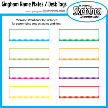 name plate desk tag templates in eight bright gingham prints tpt