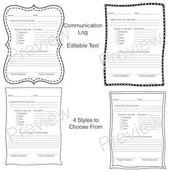Home & School Communication Set Backpack Tags & Communication Log Customizable