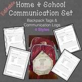 Home & School Communication Set Backpack Tags & Communication Log Customizable
