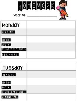 Customizable Homework Assignment Sheet