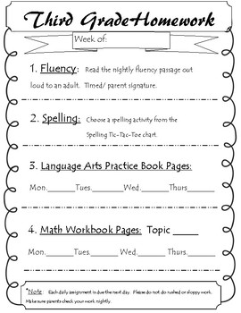 3rd Grade Homework Cover Sheet and Spelling Tic-Tac-Toe
