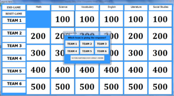 Customizable Jeopardy Game Excel