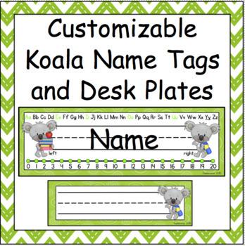 Customizable Koala Name Tags and Desk Plates