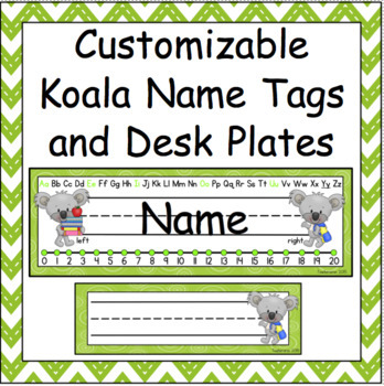 Customizable Koala Name Tags and Desk Plates