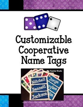 "Customizable ""Make Cooperative Groups"" Name Tags"