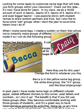 """Customizable """"Make Cooperative Groups"""" Name Tags 2017 edition"""