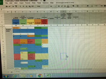Customizable Monthly Class Behavior Log