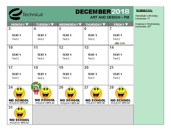 Customizable Monthly Student Class Calendar ~ Microsoft Word