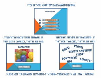PowerPoint Template #2 Multiple Choice Question Format- W/ preview video