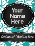 Customizable Notebook (Teal Floral)