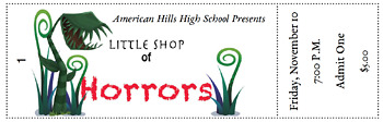 Customizable Numbered Tickets for Little Shop of Horror Theatrical Performance