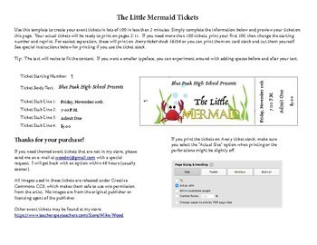 Customizable Numbered Tickets for The Little Mermaid Theatrical Performance