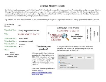customizable numbered tickets for a murder mystery dinner by mike wood