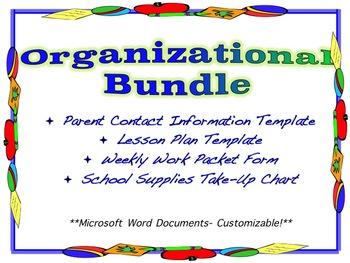 Customizable Organization Bundle- Lesson Plan Template, Co