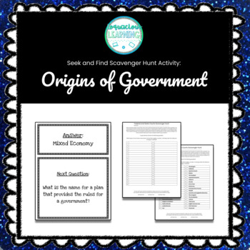 Customizable Origins of Government Scavenger Hunt Style Review Game
