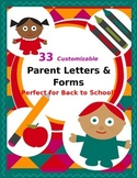 Parent Letters & Forms Beginning of Year {Customizable}