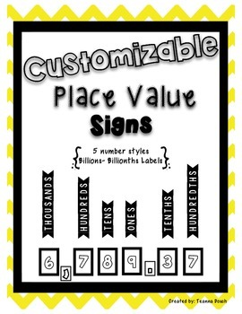 Customizable Place Value Sign