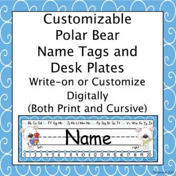 Customizable Polar Bear Name and Desk Plates