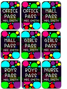 Customizable Polka Dot Hall Passes for Lanyards