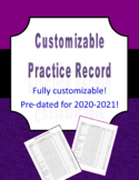 Customizable Practice Record for Music Classes (excel version)