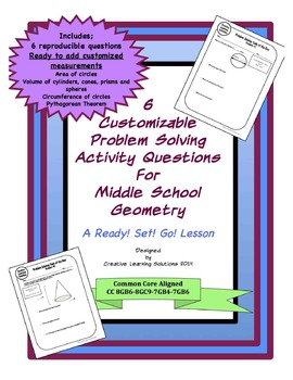 Editable Problem Solving Activity Sheets for Middle School Geometry