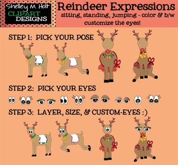 Customizable Reindeer Clipart - B/W and Color  for personal or commercial use