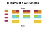 Customizable Seating Chart: 8 Teams of 4 w/4 Singles
