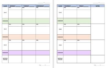 Customizable Secondary School Teacher Lesson Planner Combo Pack