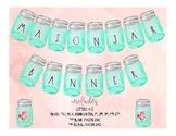 Customizable Shabby Chic Farmhouse Mason Jar Banner Letters