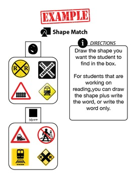 Customizable SHAPE MATCHING Worksheets & Data For Students With Autism
