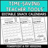 Customizable Snack Calendars 2019-2020