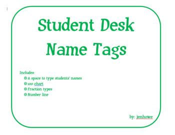 Customizable Student Desk Name Tags:100 Chart, Fraction Types, Number Line
