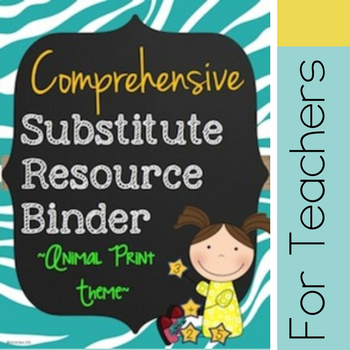 Customizable Substitute Resource Binder - Bright Animal Print Theme