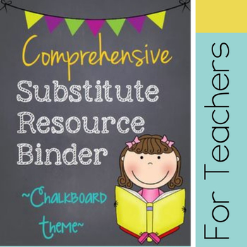 Customizable Substitute Resource Binder - Chalkboard Theme