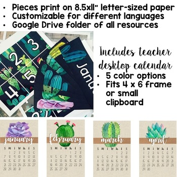 Customizable Succulent Calendar