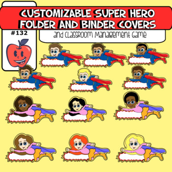 Customizable Super Hero Binder Cover Creator and Classroom Management Game