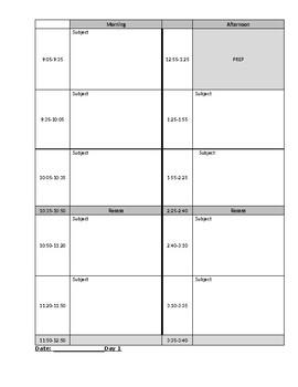 Customizable Teacher Day Plan Schedule