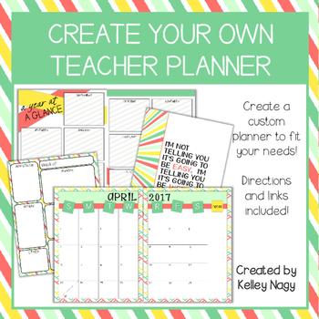 Customizable Teacher Planner - Summer Colors