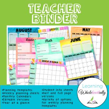 Customizable Teacher Binder (Watercolor)