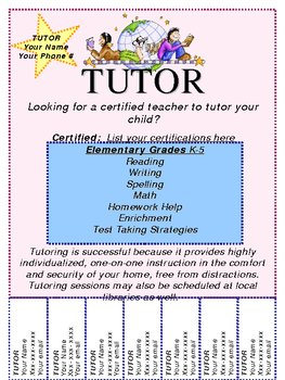 customizable tutoring flyer by crafty christine tpt. Black Bedroom Furniture Sets. Home Design Ideas