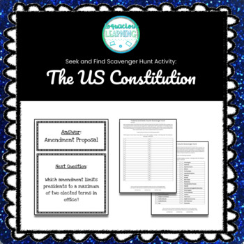Customizable US Constitution Scavenger Hunt Style Review Game