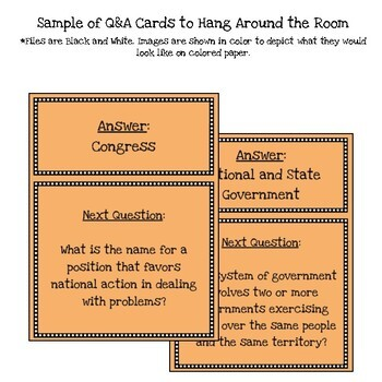 Customizable American Federalism Scavenger Hunt Style Review Game