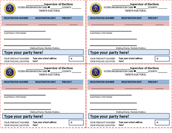 Customizable Voter Registration Cards and Ballots