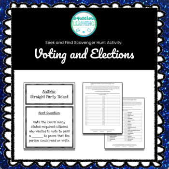 Customizable Voting and Elections Scavenger Hunt Style Review Game