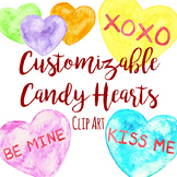 Customizable Watercolor Candy Conversation Heart Clip Art